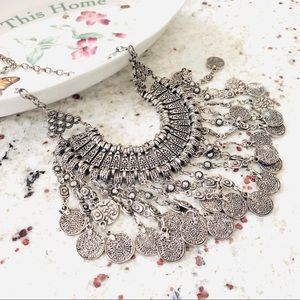 Silver Tone Coin Boho Statement Necklace New